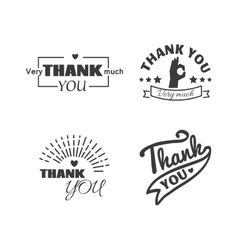 Thank you text lettering badge vector