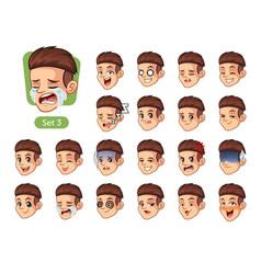 Third set male facial emotions vector