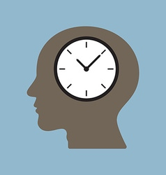 time clock in human head vector image