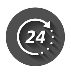Time icon flat 24 hours with long shadow vector