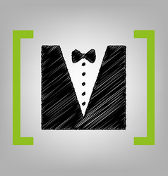 tuxedo with bow silhouette black scribble vector image