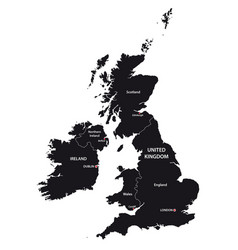 United kingdom and ireland map in black and white vector