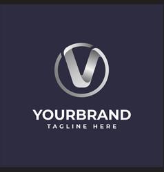 V initial letter circle logo elegant silver dark vector