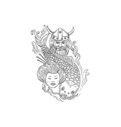 Viking carp geisha head black and white drawing vector