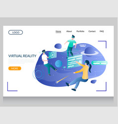 virtual reality website landing page design vector image