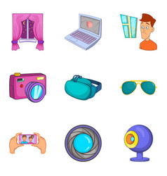 Visual icons set cartoon style vector