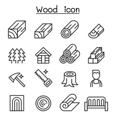 wood icon set in thin line style vector image