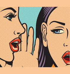 beautiful woman whispering secret to her friend vector image vector image