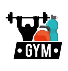 Bodybuilder fitness gym water kettlebell vector