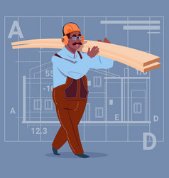 cartoon african american builder holding planks vector image