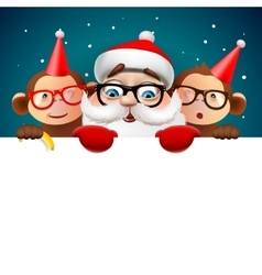 Christmas card with Santa Claus and monkeys vector image vector image