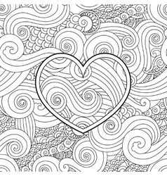 Coloring page with heart and asian wave curl vector