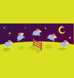 Count lambs and rams for sleep baa-lamb jump vector