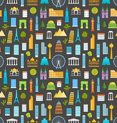 Different world famouse sights and city buildings vector image vector image
