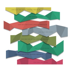 3d colored paper banners origami style vector image vector image