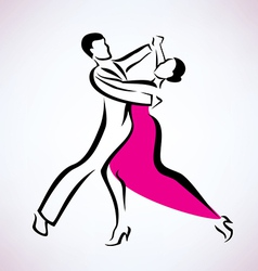 dancing couple outlined sketch vector image vector image