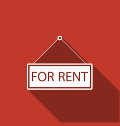 hanging sign with text for rent with long shadow vector image