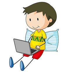 Kid and computer vector image