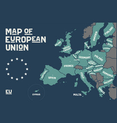 poster map of the european union with country vector image