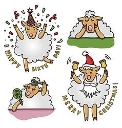 Set of funny sheep characters vector