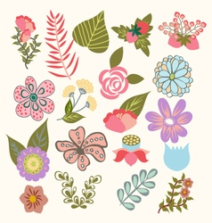 set of lovely flowers in vintage-style vector image vector image