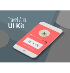Travel mobile app UI smartphone mockup vector image vector image