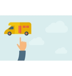Hand pointing to a van icon vector image