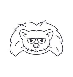hedgehog head line icon sign vector image vector image