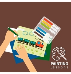 Kids painting lessons vector image vector image