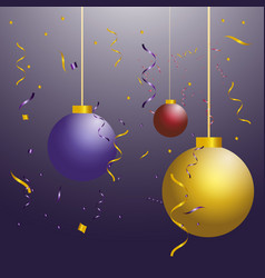 three new year s ball toys of different colors on vector image vector image