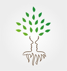 Tree and roots forming the face of a woman vector image