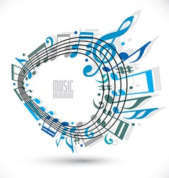 Blue music background with clef and notes music vector image vector image