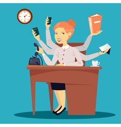 Businesswoman Multitasking Business Lady vector image