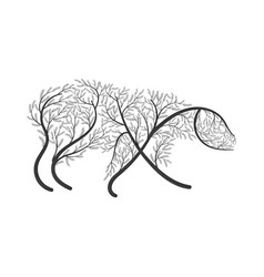 polar bear stylized bush vector image vector image