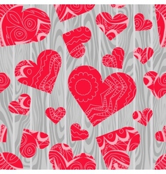 Textured hearts background vector image vector image
