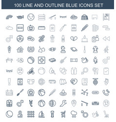 100 blue icons vector
