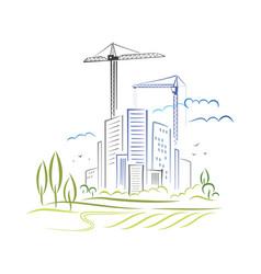 abstract city development vector image