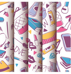 accessories and shoes for girls seamless pattern vector image