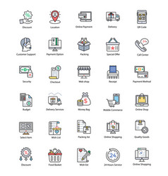 Alluring shopping and commerce icons vector