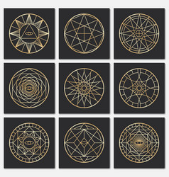Ancient masonic pentagrams steampunk gold sacred vector