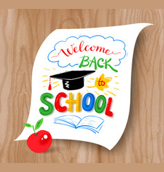 Back to school lettering with graduation hat vector