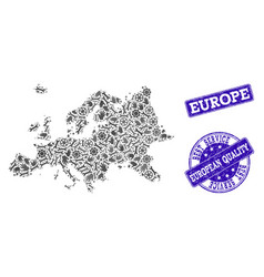 Best service collage of map of europe and vector
