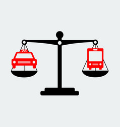 black scales balance taxi and bus icon vector image