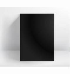 blank black hard cover book mockup a4 format vector image