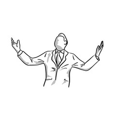 businessman raising his hand with happiness vector image
