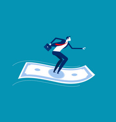 Businessman standing on flying money financial vector