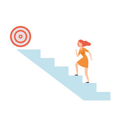 businesswoman moving up career ladder to goal vector image