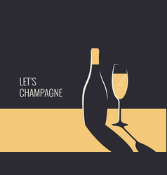 champagne bottle banner glass on gold and black vector image