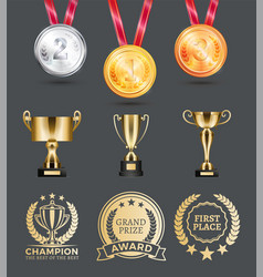 Champion medals collection vector