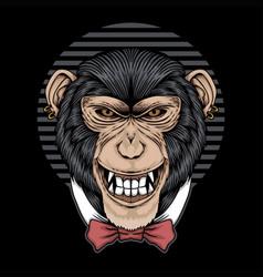 chimpanzee tie bow vector image